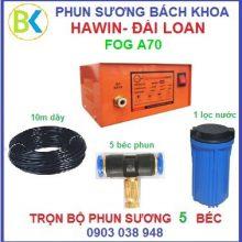 Bộ máy phun sương 5 béc, đế nhựa máy Fog-A70